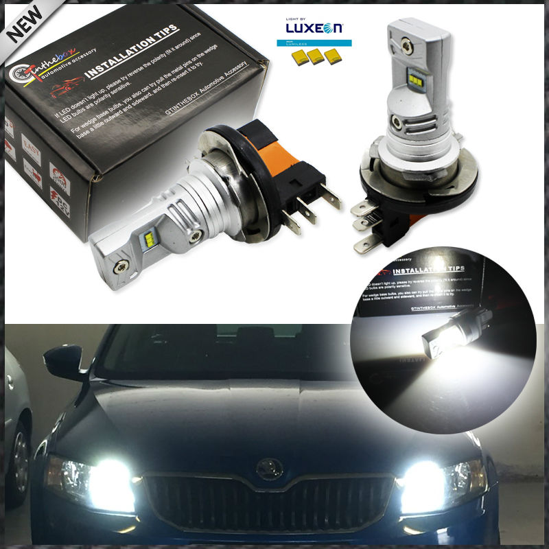 2pcs Xenon White Powered By Philips Luxeon Led H15 Led