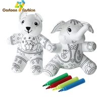 Children Early Creative Educational Dolls Graffiti DIY Handmade Draw Color Stuffed Toys Animal Plush Dolls Bear