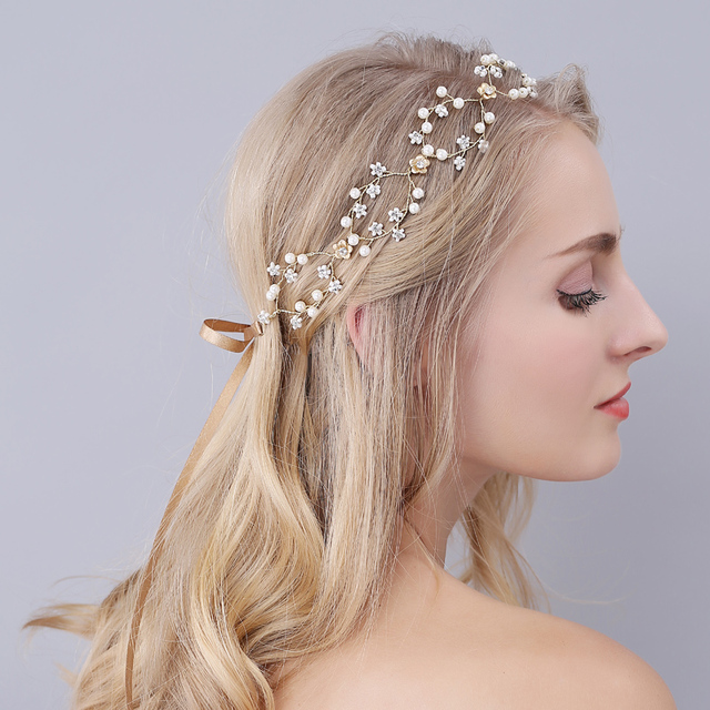 Gold Hairbands Wedding Tiara Pearl Wedding Crown Headbands Bridal