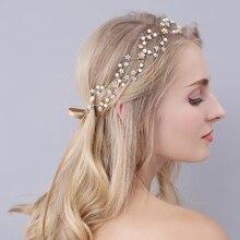 Gold Hairbands Wedding Tiara Pearl Wedding Crown Headbands Bridal Hair Accessories Head Jewelry wedding hair accessories O935