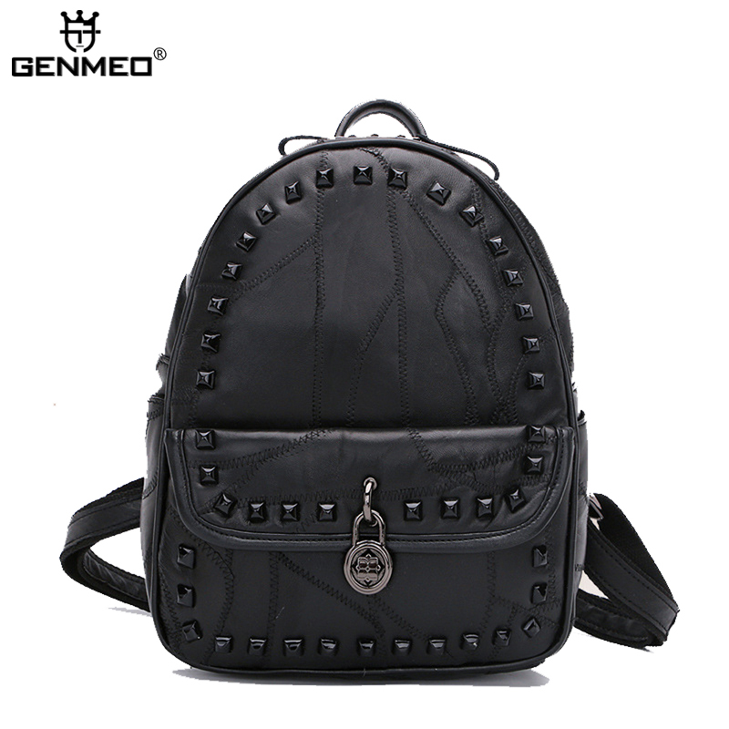 New Arrival Revit Goat Leather Backpacks 2017 Famous Brand Design Soft Genuien Leather Lady Backpack Double Shoulder Strap Bags 2017 new arrival leather backpack casual bags