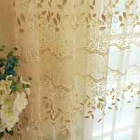 New Arrival Embroidered Tulle Voile Door Window Balcony Beige Flower Sheer Window Screening Curtains Living Room