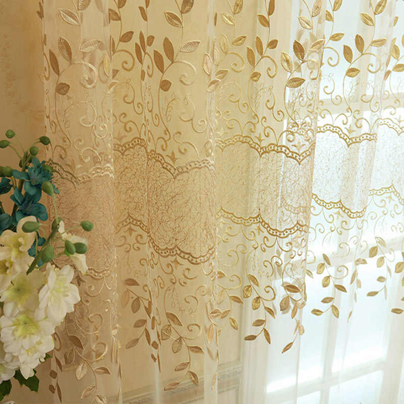 New Arrival Embroidered Tulle Voile Door Window Balcony Beige Flower Sheer Window Screening Curtains Living Room 363&20