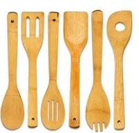 6Pcs Set Cooking Utensils Bamboo Wood Kitchen Slotted Spatula Spoon Mixing Holder Dinner Food Rice Wok