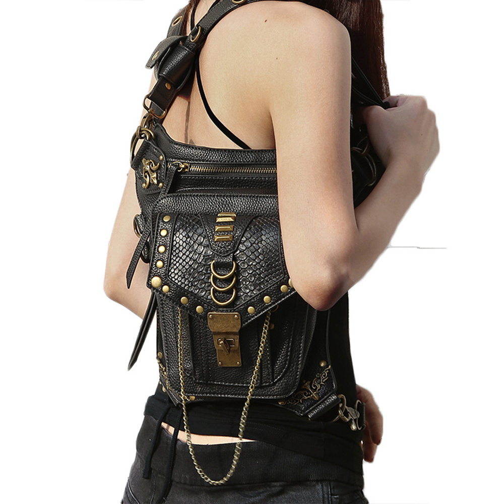 Motorcycle Bag Female Black Pu Leather Leg Pack Motorcycle Ride Cool Personality Girl Multi-function Travel Outdoor Wallet