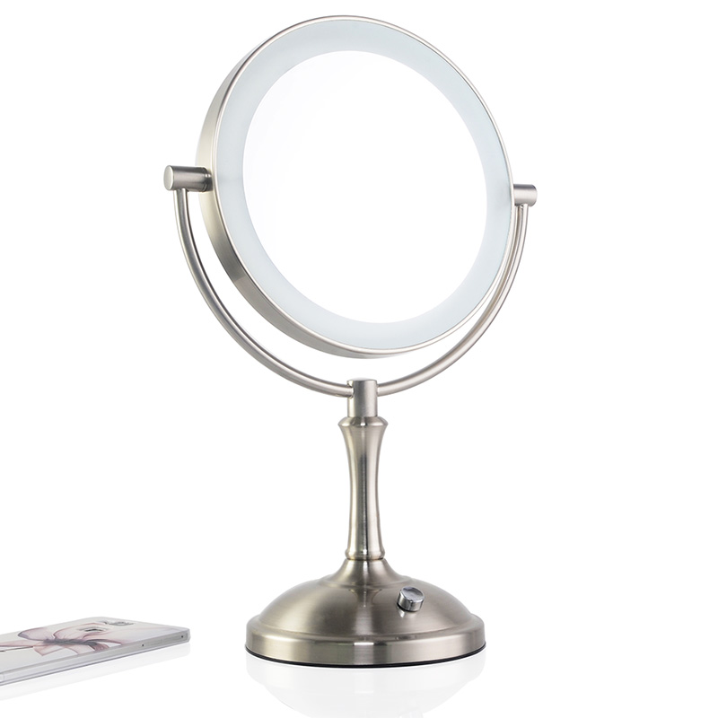 Touch dimmer LED makeup mirror lighted 3X magnifying mirror European style double sided bath mirror