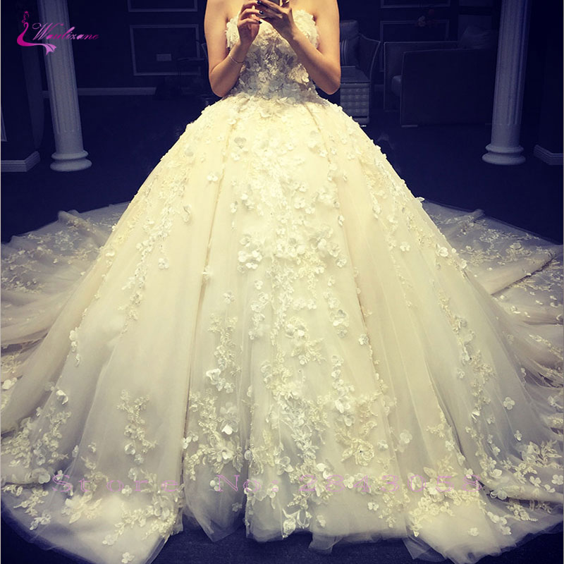 Waulizane Shiny Beaded Embroidery 2020 Ball Gown Wedding Dress Lace Appliques Lace Up Chapel Train Princess Bridal Gowns