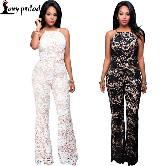 Lace Full Black Bodysuit Women Jumpers And Rompers See Through Long Sleeve Bodysuit White Lace Sexy Spaghetti Jumpsuit Overalls