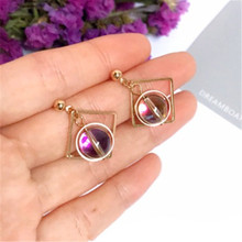 Extremely minimalist fashion geometry dazzle colour crystal round bead delicate earrings earrings female jewelry earring me 01 fashion dazzle colour s shaped earrings deep pink yellow multi color pair