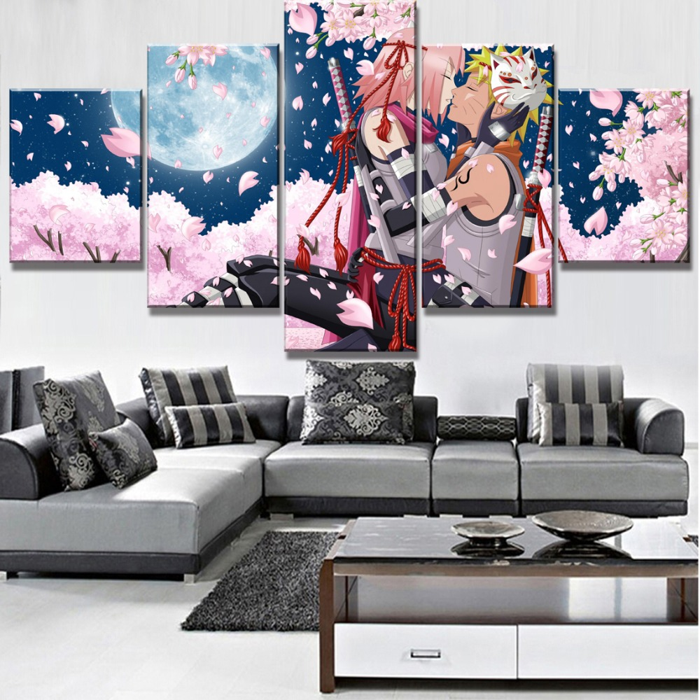 5 Piece Hd Print Large Naruto Poster Cuadros Landscape