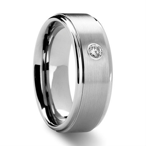Tailor Made Mens Grooved Tungsten Ring w/ CZ(Cubic-Zirconia) Stone US Size 4-18 whole, half & quarter (#NR62)
