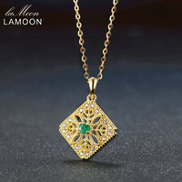 LAMOON 3mm 3ct Round Cut Green Emerald 925 Sterling Silver Jewelry Chain Pendant Necklace S925 LMNI056
