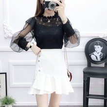 Women chiffon blouse top & irregular skirts two-piece outfit lady clothing set vestido sweet vogue girl design fishtail skirt