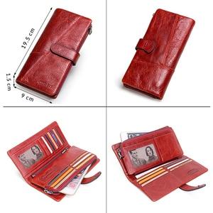 Image 3 - 연락처 100% 정품 가죽 지갑 여성 긴 동전 지갑 Hasp 디자인 클러치 백 무료 조각 카드 홀더 지갑 Cartera