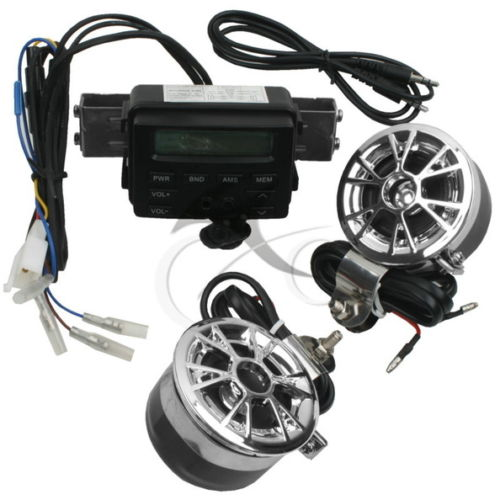 Motorcycle Sound Audio Radio System Handlebar FM MP3 Stereo 2 Speakers ATV Bike stereo system