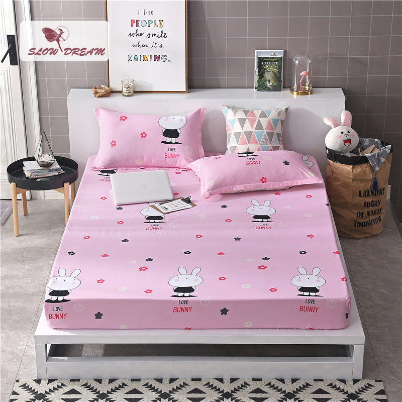 Slowdream 1pcs Cartoon Bed Mattress Cover Fitted Sheet Bed Linen Double Single Queen Corner Rubber Bed Sheet With Elastic Band in Sheet from Home Garden