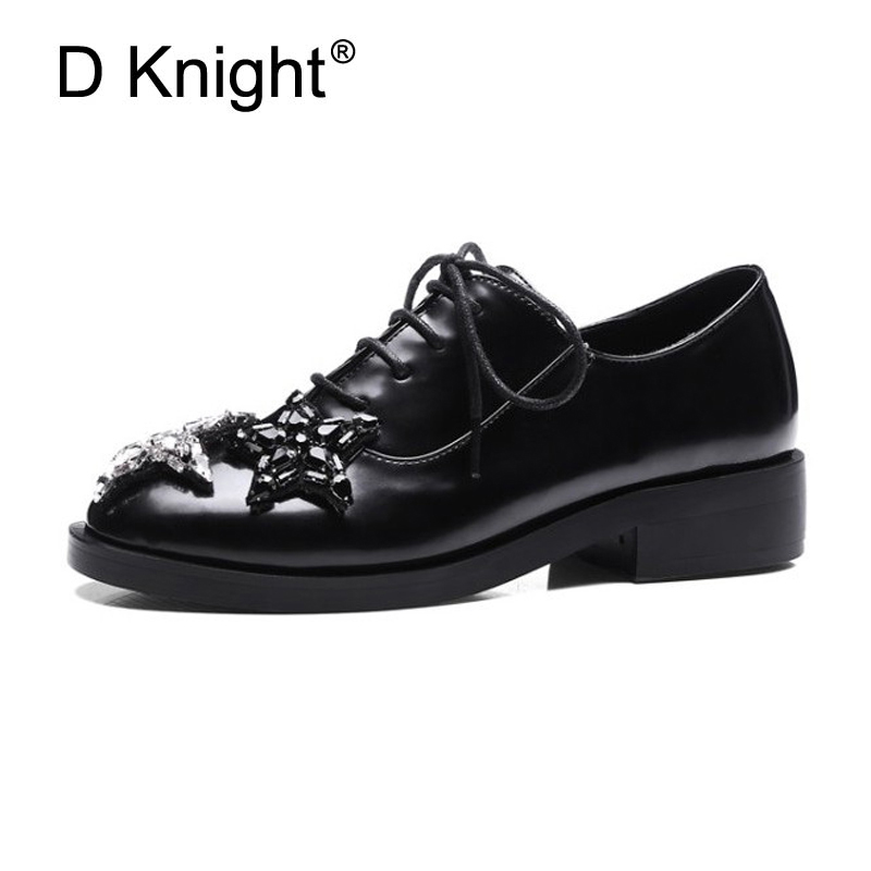 British Style Oxfords 2017 Platform Star Crystal Brogue Shoes Woman Patent Leather Plus Sze 33-43 Creeper Women Flats Shoes D29 fashion patent leather oxfords shoes woman 2016 casual platform flats low heels silver women brogue shoes 2 wearing xwd3170