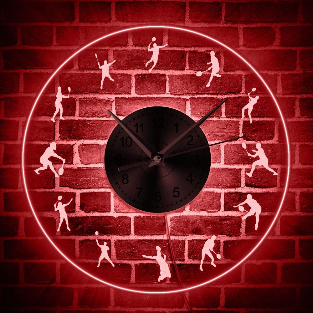 Badminton LED éclairage horloge murale acrylique moderne horloge murale lueur dans l'obscurité avec des changements de couleur volant joueur horloge décorative