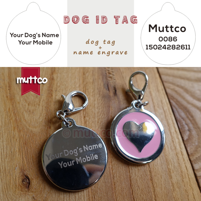 50pcs/lot 30mm heart shape Name engrave dog id tags dog tags for pets round dog name tags collar charm, leave me name and tel image