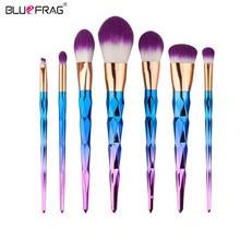 BLUEFRAG 7Pcs Gradient color Spiral Handle Make up Brushes Set Makeup Foundation Blusher Face Powder Brush BRBL0015