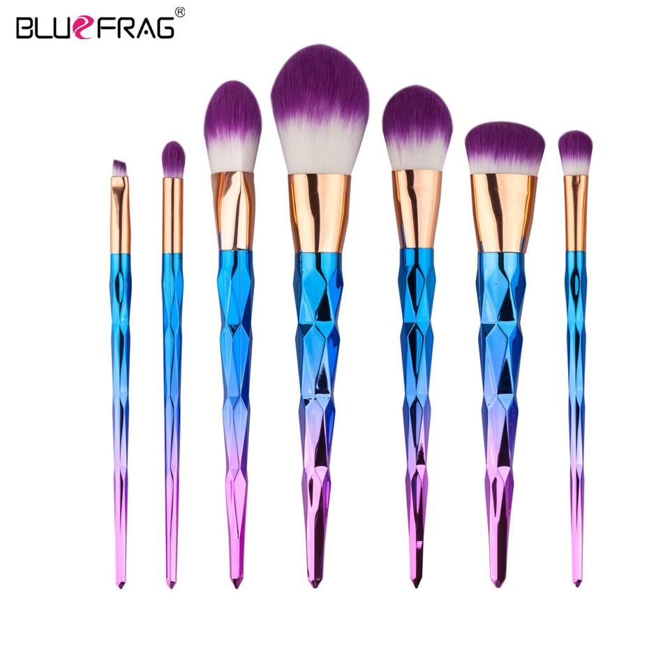 BLUEFRAG 7kom gradijent boja spiralna ručka make up četke set - Šminka
