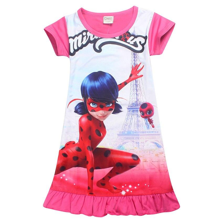 Lady Bug Moana Trolls Cartoon Clothes Kids Short Sleeve Dress Miraculous Ladybug Dresses for Girls Summer Evening Party Clothing
