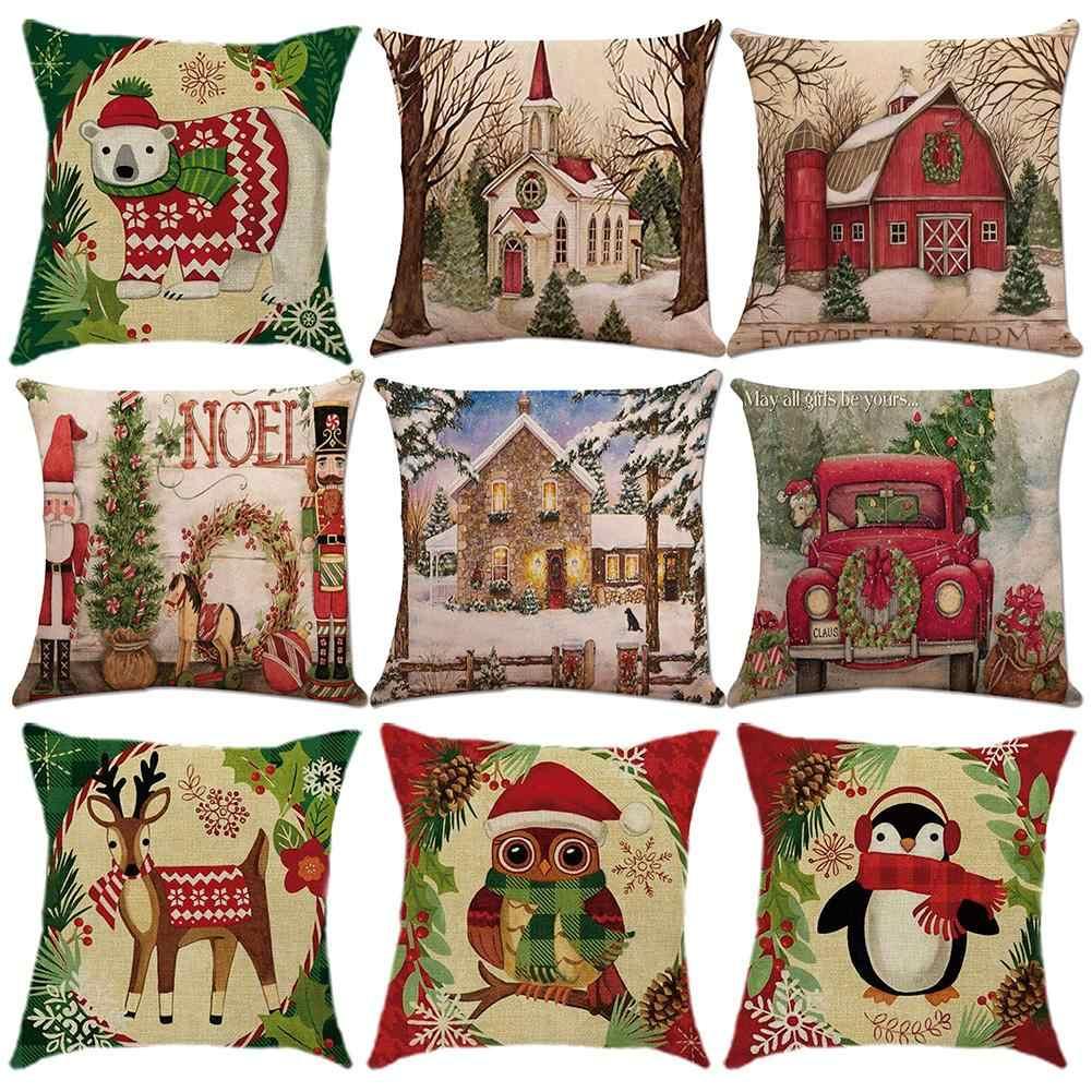Рождественский Санта Клаус лося Подушка с медведем Чехол для дивана автомобиль