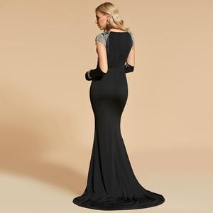 Image 4 - Женское вечернее платье Русалка Dressv, черное платье с глубоким вырезом и коротким рукавом, длиной до пола, с бисером, вечерние свадебные платья