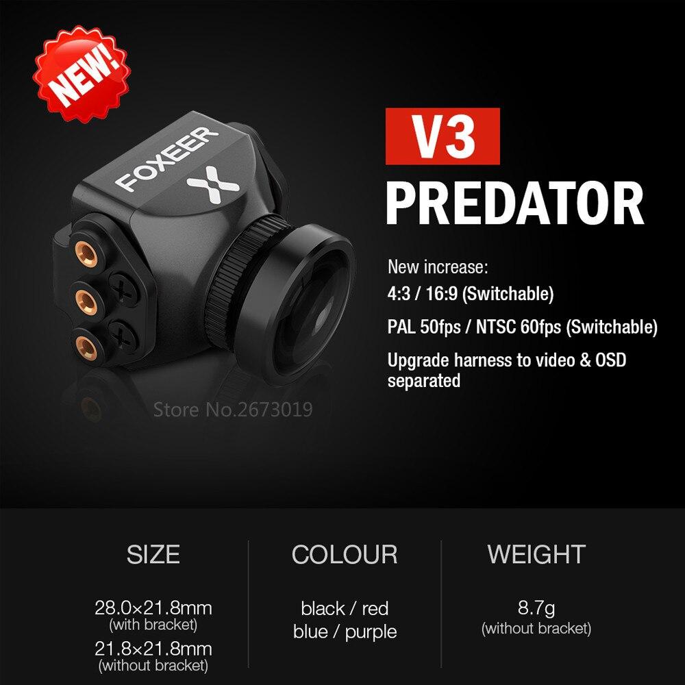 Neue Foxeer Predator V3 Kamera Racing FPV Drone Cameras16: 9/4: 3 PAL/NTSC umschaltbar Super WDR OSD 4 msek Latenz Upgarded PredatorV2
