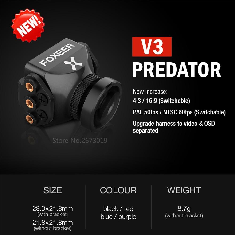 Nuevo Foxeer Predator V3 Cámara Racing FPV Drone Cameras16: 9/4: 3 PAL/NTSC conmutable WDR OSD 4 ms latencia Upgarded PredatorV2