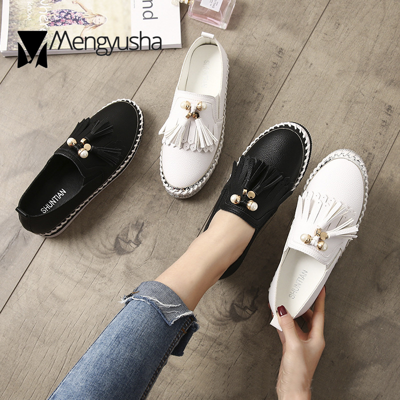 Chaussures Mocassins Joker Corée Perle Slip blanc 2018 Confortable Appartements Mujer On Toe Femme Microfibre Ronde Creepers Date Gland Dames Noir Z40qzS