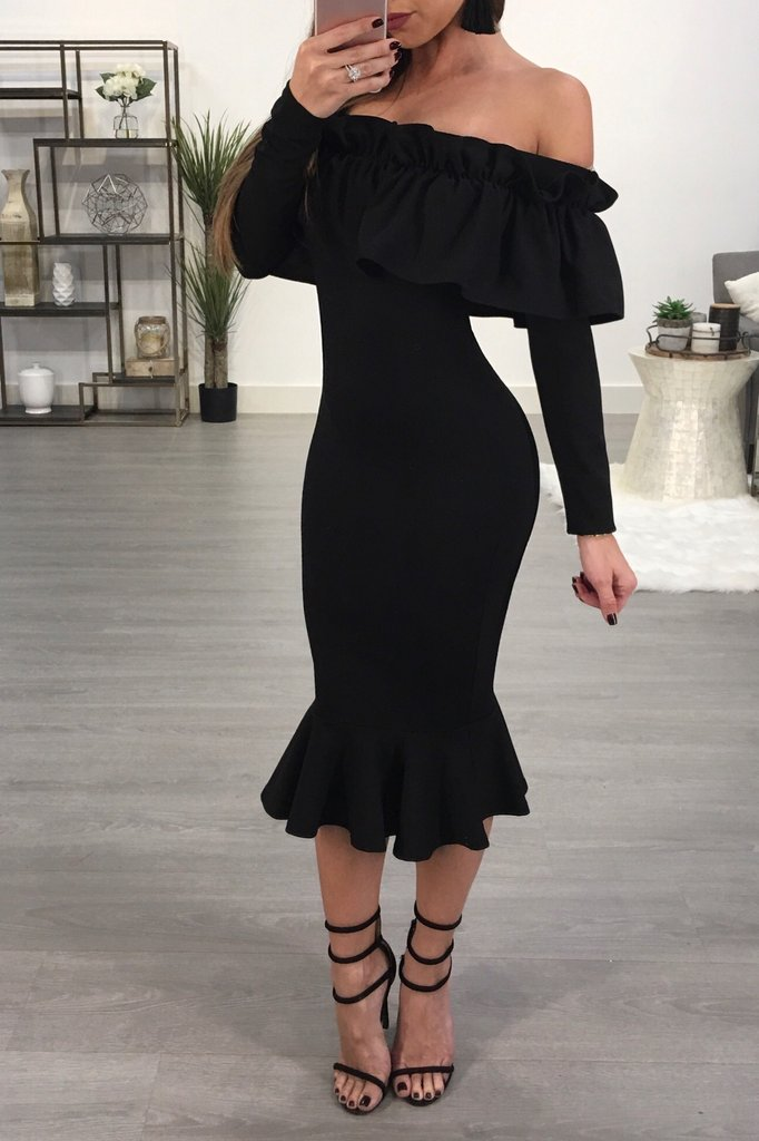 LD553 New arrive chic style women black dress ruffles slash neck elegant party dress long sleeve vestidos verano 2017