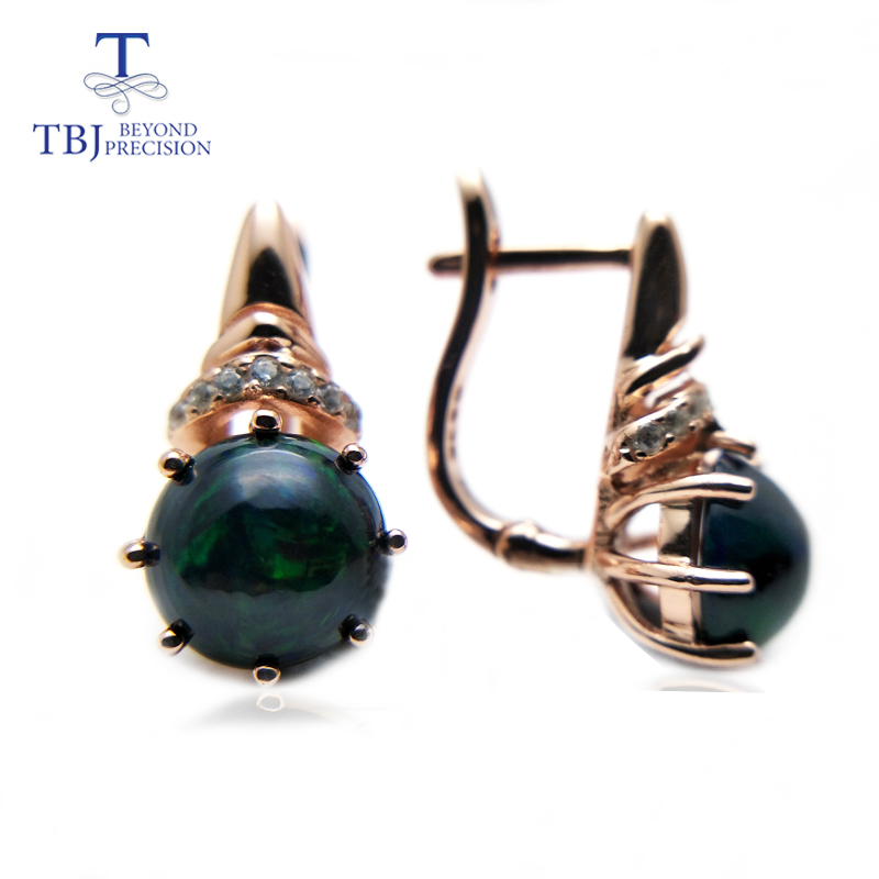 TBJ New design clasp earring with natural black opal in 925 sterling silver rose gold color