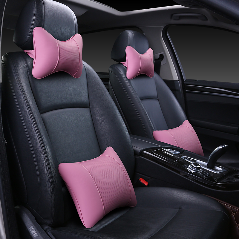 A pair of leather neck Cervical spine cushion neck pillow neckrest for general car headrest backrest