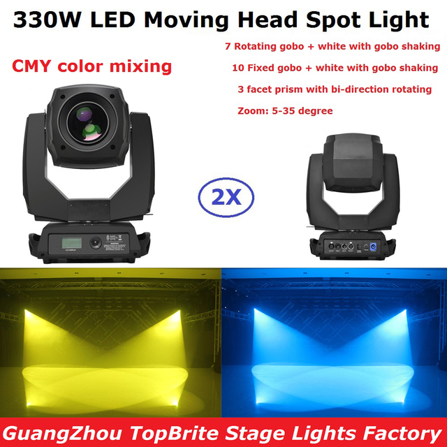 2XLot Moving Head Light High Power 330W LED Moving Head Spot Lights 2 Gobo Wheels 3 Facet Prism Dj DMX Disco Party Effect Light