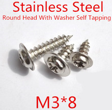 100pcs/lot M3*8mm 3mm Stainless Steel 304 Round Head With Washer Micro Self Tapping Screw Round washer head screw стоимость