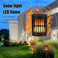 Home Decor Durable Solar Lamp Outdoor Waterproof Flickering Led Flame Effect Bulb Garden Ornament Realistic Torch Easy Install