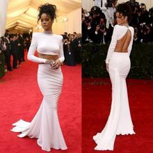 2016 zwei Stück backless Abendkleid Met Gala Rihanna Long Sleeve High Neck Red Carpet Kleid Abendkleid
