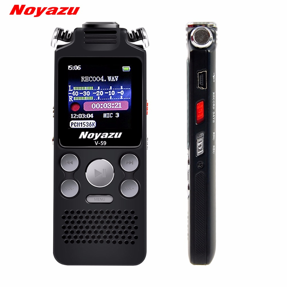 NOYAZU V59 Steel Stereo Record 8G Digital Voice Recorder Voice Activated Recorder Dictaphone Audio Recorder Mp3 Russian Language high bit rate 1536kbps audio recorder 60m voice recorder 8g time stamp voice activated password digital recorder ape flac player