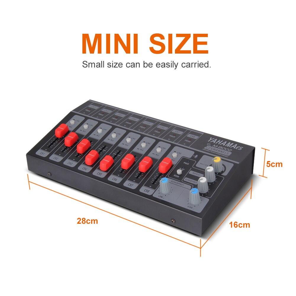 8 canal único4 canais estéreo usb portátil mini mixer console de áudio mixer dj controlador estendido para a faixa