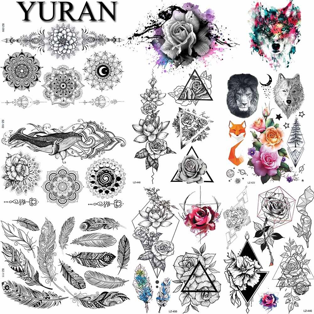 Buho Tatuaje Mandala tatuaje temporal impermeable pegatina lindo búho animal