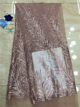 African French lace fabric with sequins high quality African chiffon lace fabric with sequins 5yards fashion sequins lace fabric