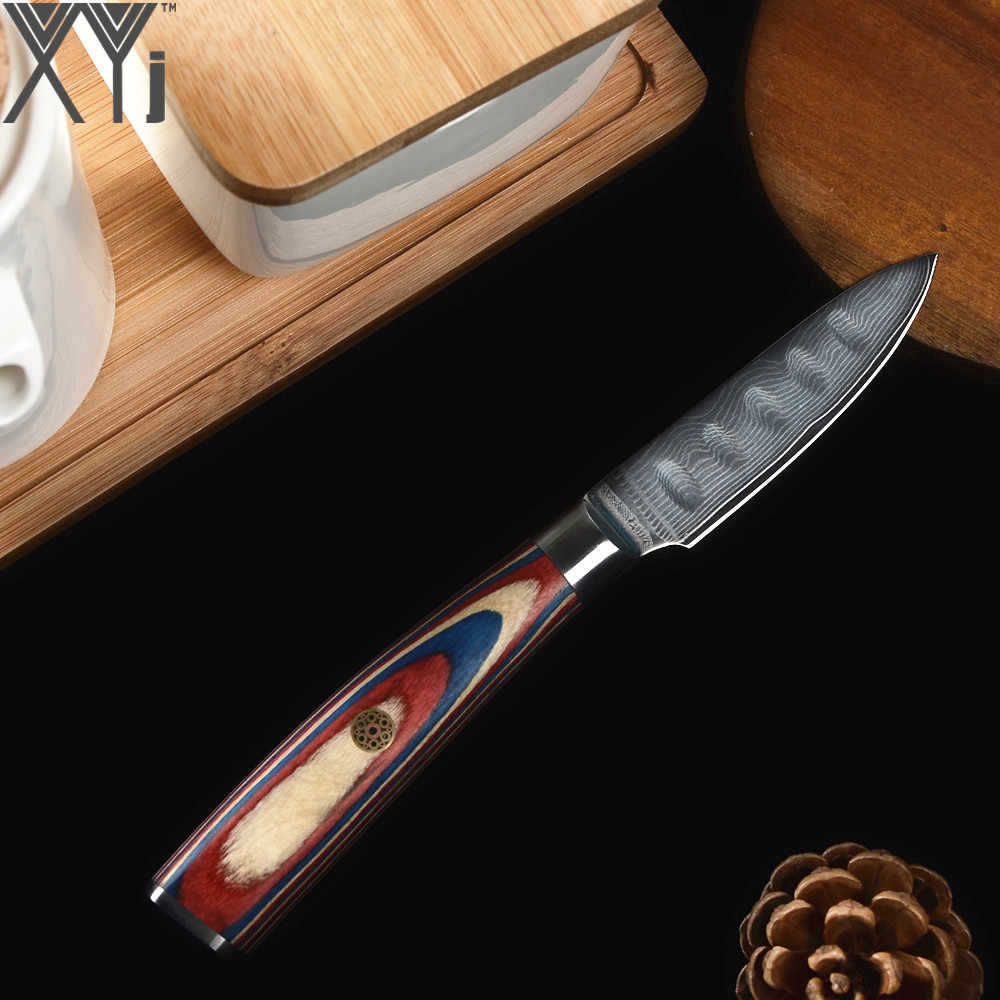 """XYj Japon VG10 Şam Çelik Mutfak Bıçağı Yüksek Dereceli 3 """"4"""" 5 """"6"""" Renk Ahşap Saplı şam Bıçak Kapakları ve Bıçak Tutucu"""