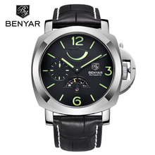 BENYAR Luxury Fashion Brand Mechanical Watches Men Sports Army Military leather Waterproof Watch clock men relogio masculino