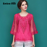 Women S Blouse 2015 Spring And Summer Runway New Retro Folk Embroidery Hollow Out Organza Ladies