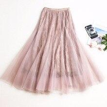 New Faldas 2019 Summer Style Vintage Skirt High Waist Work Wear Midi Skirts Womens Fashion Lace Jupe Femme Saias