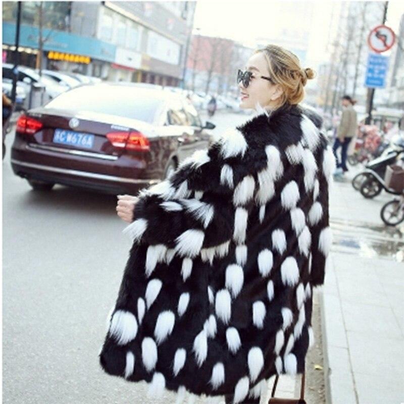 Style Noir Manteau Fourrure Faux Revers Renard Femmes De Longues Manteaux Manches Longue 2018 Chaud Généreux Mode Nouvelle Section D'hiver Veste wYgUO
