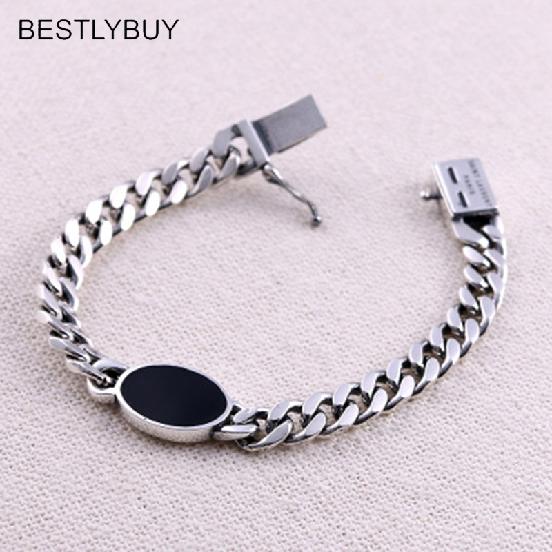 BESTLYBUY Thai silver bracelet domineering tanks chain 925 sterling silver vintage Chain & Link Lock bracelets 2018 thai silver jewelry 925 sterling silver men bracelet male domineering personality retro fashion chain link charm bracelet