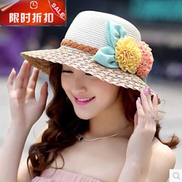 e3717fb81ac 2016 Korean Spring summer Sunscreen flowers Women straw hat lady s Beach  Hats foldable girls sun hat