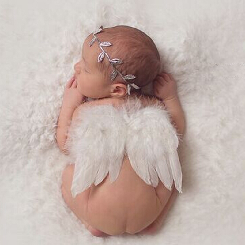 2pc set angel feather wings newborn leaves headband hair accessories photo shoot outfit for newborn hairband photography props in hair accessories from